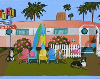 KINGS IN THEIR CASTLE  king Charles Spaniels at the trailer park. Mid century modern living.  This is a limited edition (200 prints) print by Linda Tillman. It is a print of an original gouache painting. Prints are all printed on archival matte paper. They are printed with a Canon iX6500 printer. It has a border. The edges of the composition fade softly into white as they do on the original painting. The print will fit a standard pre-cut matte for easy framing.  The size is 8 x 10 inches…