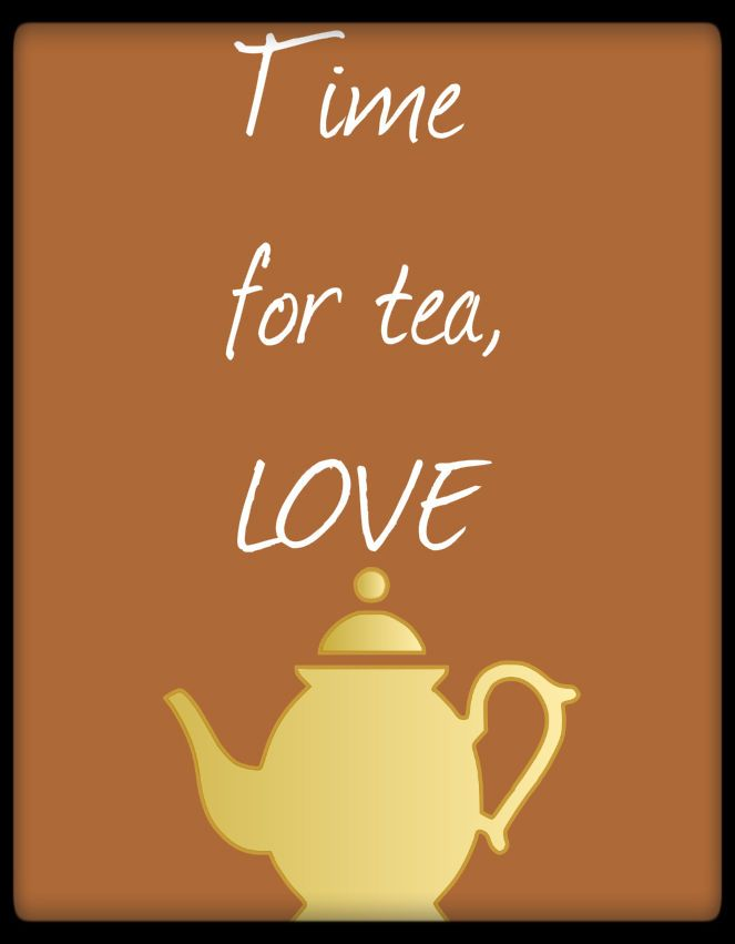 Wood Sign Primitive Time For Tea Love Home Decor Wall