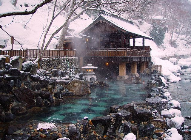 Rotenburo, outdoor Japanese Hot Spring for bathing. I want to build this in my back yard.