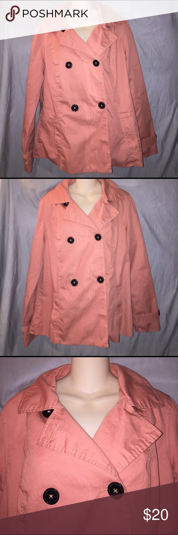 Adorable Spring peacoat style jacket Coral peacoat style with black buttons. Spring jacket Merona Jackets & Coats