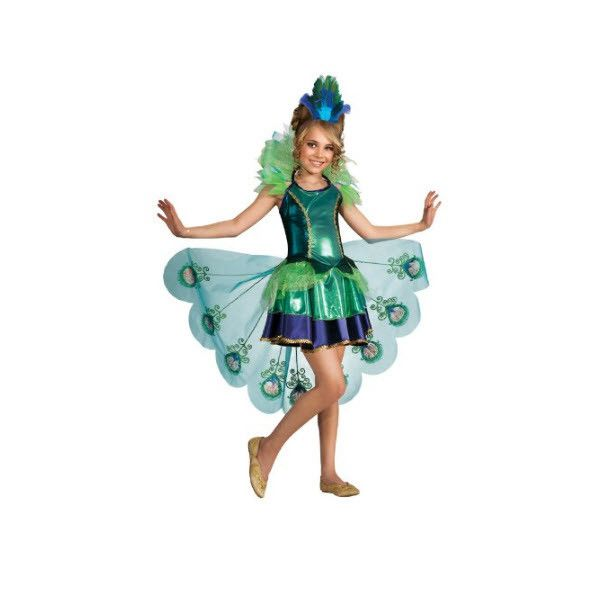This girls Peacock costume is perfect for any party or Halloween Trick or Treating adventure. - 100% Polyester - Peacock Costume - Bold and brightly colored peacock themed girls costume - Hand wash in