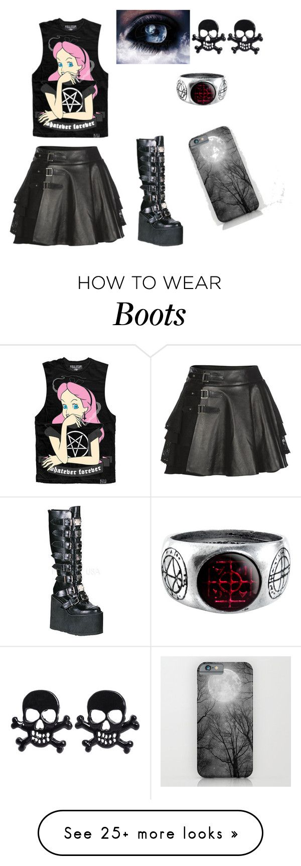"""Rocker Boots"" by gothlife on Polyvore featuring Mairi Mcdonald, Demonia, women's clothing, women's fashion, women, female, woman, misses and juniors"