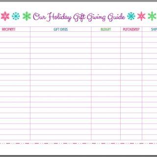 FREE Printable Christmas Holiday Gift Giving Guide