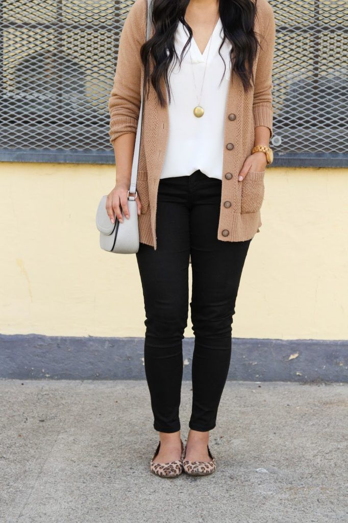Tan Cardigan + White Blouse + Purse + Black Skinnies + JORD Watch + Gold Necklac…
