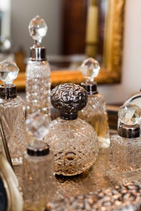 Lovely collection of Victorian and Edwardian vintage cut glass and silver perfume bottles