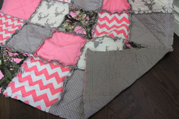 Baby Girl Rag Quilt Pink Camo Baby Quilt Real Tree от RozonsRags