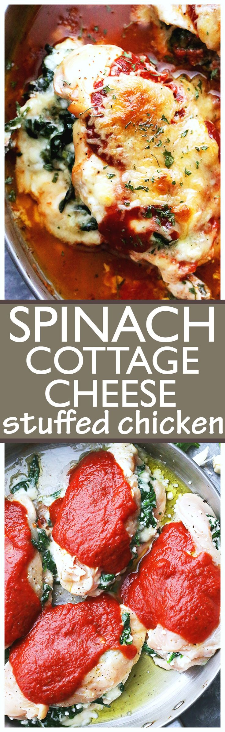 Saucy Spinach and Cottage Cheese Stuffed Chicken - Easy, delicious, yet healthy stuffed chicken breasts with spinach and cottage cheese, all baked in a hot and bubbly pasta sauce.