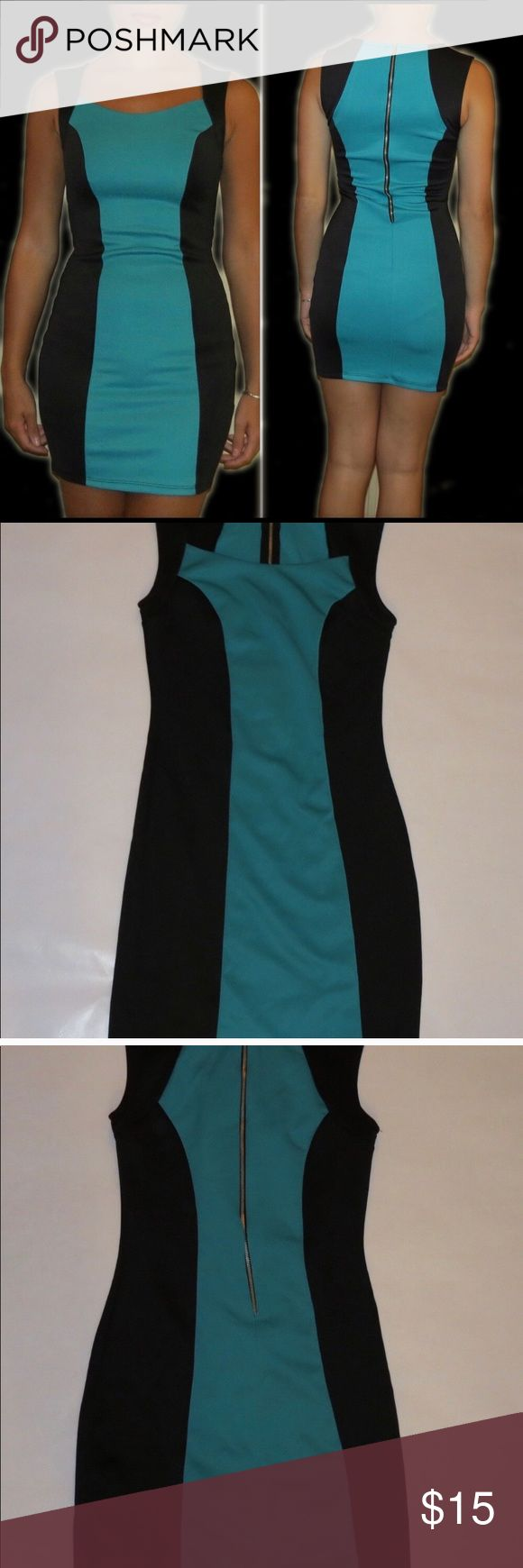 BodyCentral teal & black color Block bodycon dress Body Central- Teal & Black dress Size: Small Back gold zipper Fitted dress Worn once, machine washed, air dried.  Great condition.  ( photographed Modeled on 5'4, 120 lbs, bust 34) Body Central Dresses Mini