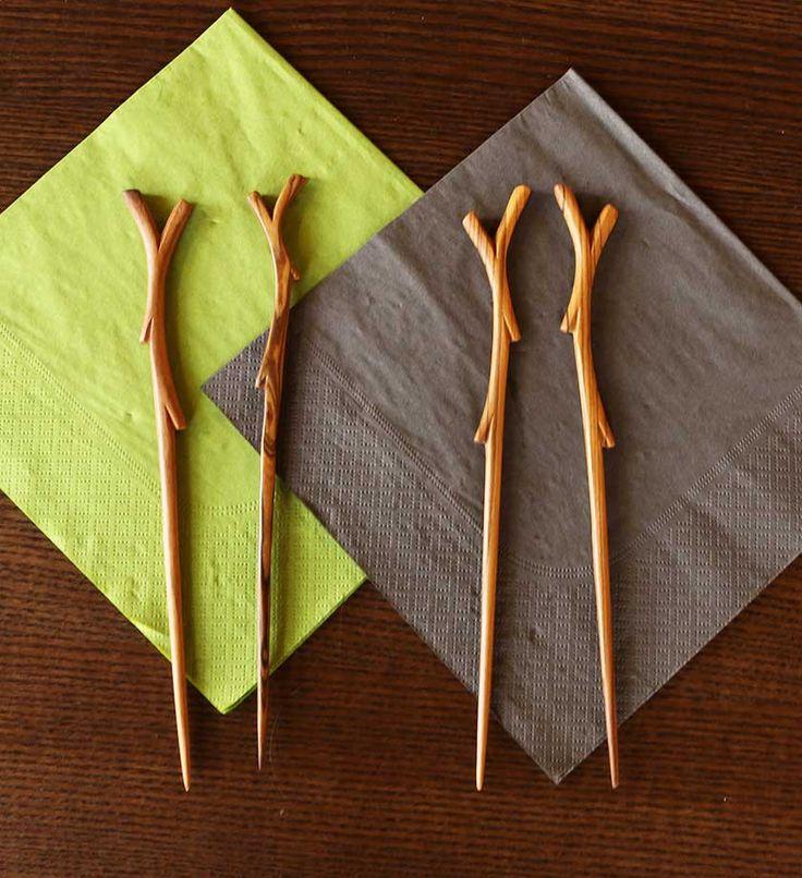 Two Pairs of Wooden Branch Chopsticks - Kitchen Handmade in Africa - Swahili Modern - 5