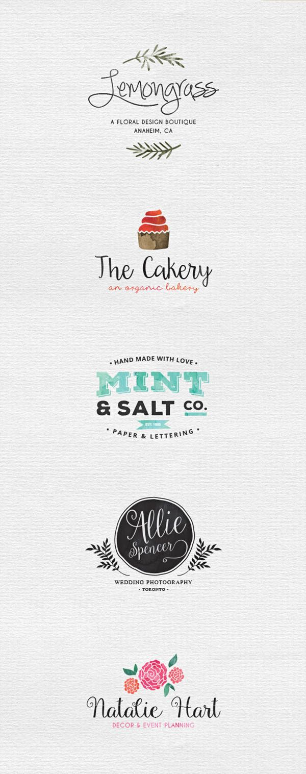 Use these 5 free watercolor logo templates that ready for a variety of applications like invitation, apparel or just to brand your business. The set also includes 8 seamless watercolor patterns for Illustrator and a list of the free fonts used. Logo Desig…