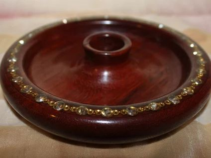 Jarrah with costume jewellery embedded in Epoxy