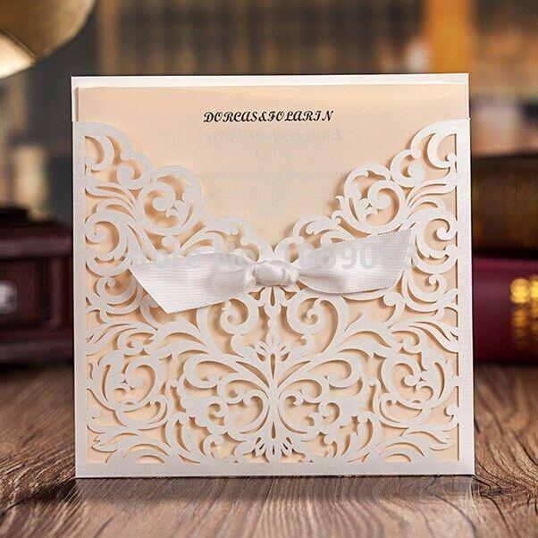 Recién llegado! invitaciones de boda blanco Hollow encaje elegante boda del corte del Laser tarjetas en blanco nupcial de la boda favores(China (Mainland))