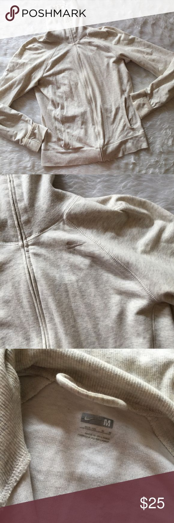 Nike Cream Zip Up Jacket Turtle Neck This jacket is in excellent condition! Size medium. Smoke and pet free home. Free of flaws like stains or holes. No trades! Offers are welcome! 😊 Nike Tops Sweatshirts & Hoodies