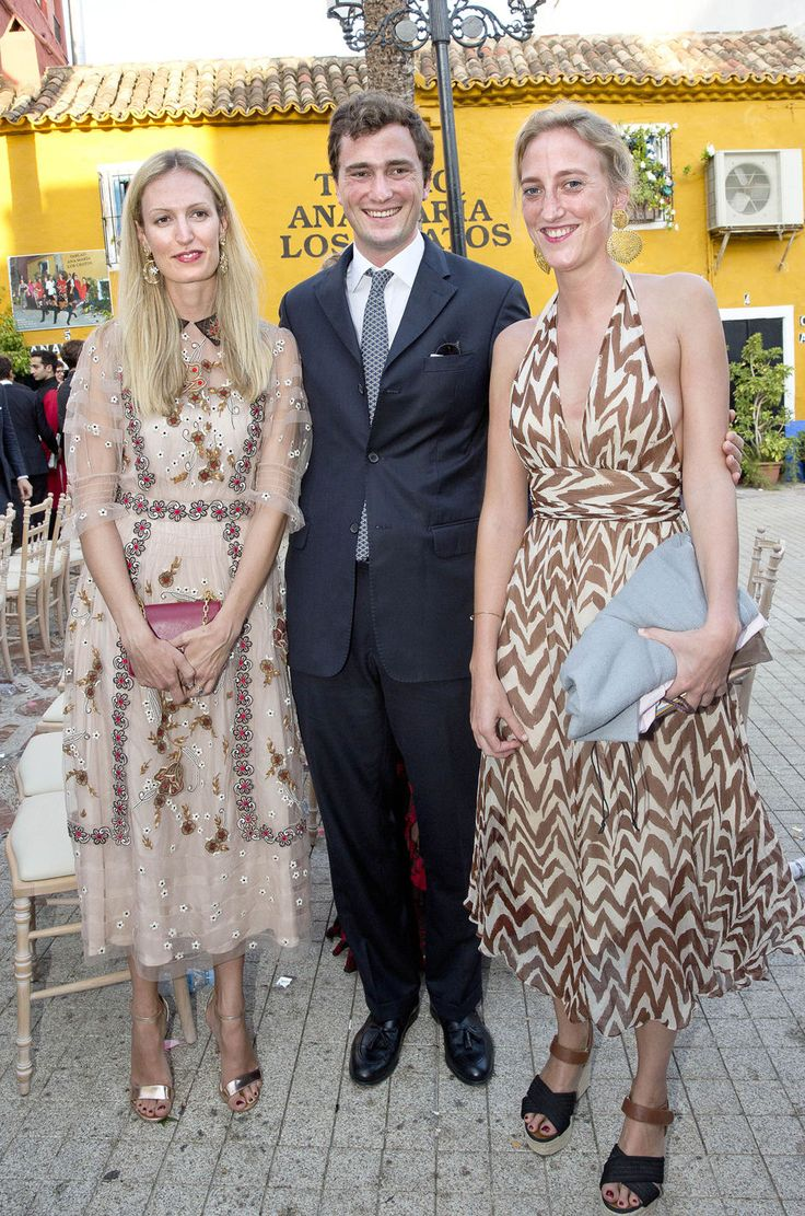 Prince Amedeo of Belgium, his wife (L) Princess Elisabetta, and his sister Princess Maria Laura of Belgium attends the wedding of Marie-Gabrielle of Nassau and Antonius Willms on September 2, 2017 in Marbella, Spain.