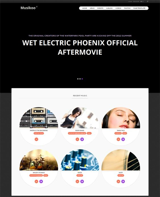 This music WordPress theme features WooCommerce support, 12 custom widgets, a responsive layout, WPML compatibility, easy background, color, menu, and logo customization, and more.