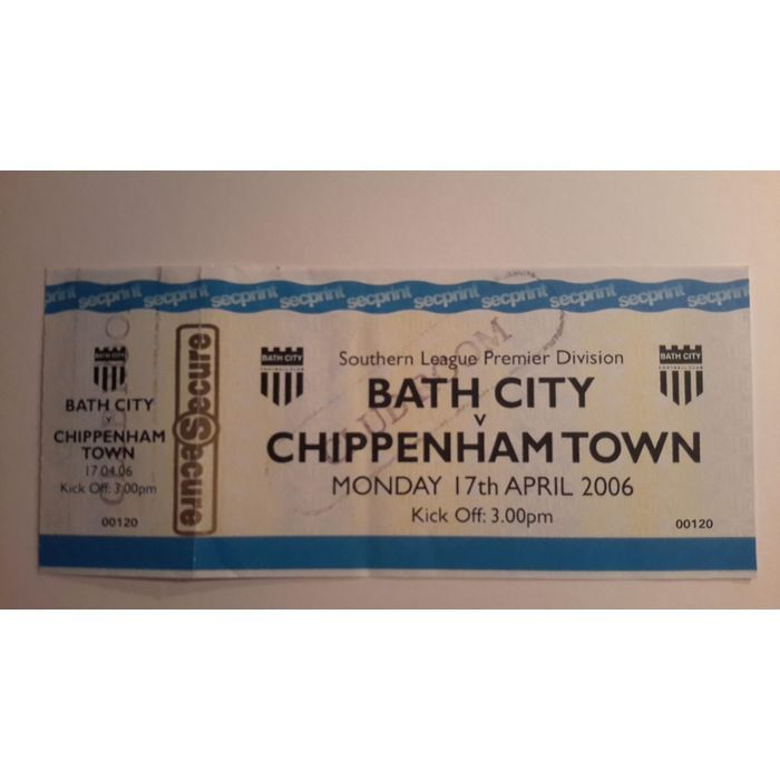 Bath City v Chippenham Town 2005/2006 Football Ticket Stub Non League Listing in the Non- League,English Club Leagues & Cups,Ticket Stubs,Football (Soccer),Memorabilia & Fan Store,Sport Memorabilia & Cards Category on eBid United Kingdom   144970245