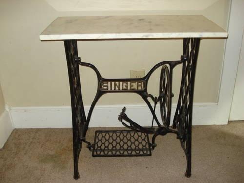 antique singer sewing machine table wmarble top