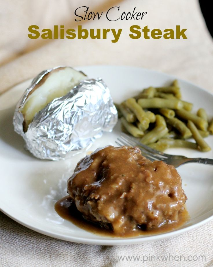 SLOW COOKER SALISBURY STEAK RECIPE ==INGREDIENTS== 2 pounds lean ground beef 1 (1 oz) envelope dry onion soup mix, 1/4 c Italian seasoned bread crumbs, 1/4 c milk, 1/4 c all-purpose flour, 2 T vegetable oil, 2  cans condensed cream of chicken soup, 1 packet dry au jus mix, 1 c water, 1/2 t pepper, 1 t dried oregano flakes, 1 t Italian seasoning 1/2 t thyme ====