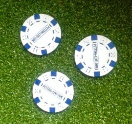 You cannot ignore this success, the perfect putting line is immediately clearly visible. Ball marker model Poker-Chips, In the color: red, white, blue, black and green  See: www.PUTTING-LINE.COM