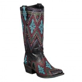 Sunshine Black with Multi Colored Stitching | $420 | www.LaneBoots.com | #LaneBoots