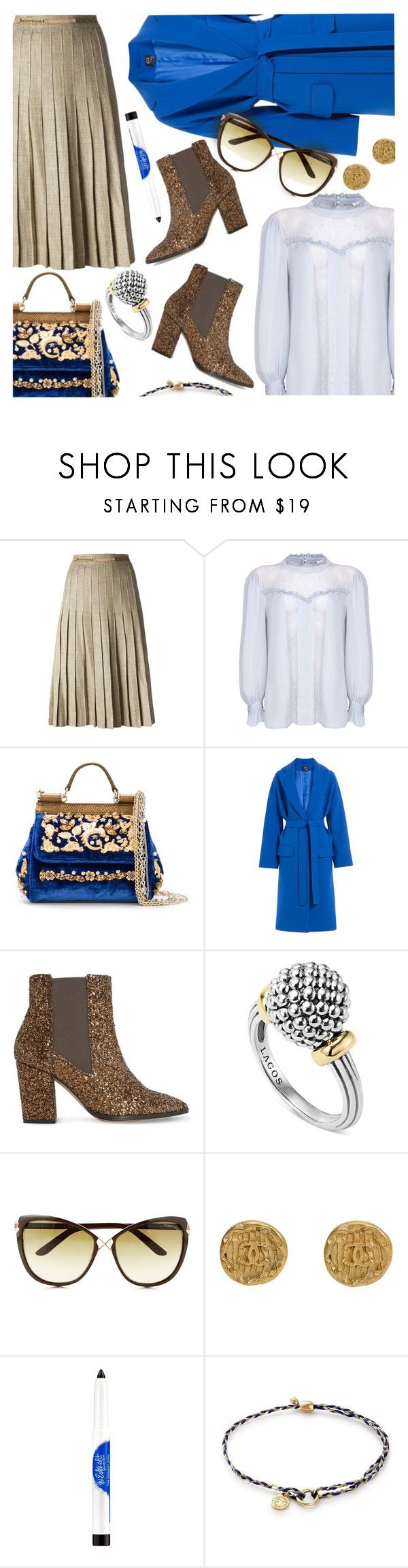 """""""Blue & Gold & Silver & Glitter"""" by stacey-lynne ❤ liked on Polyvore featuring CÉLINE, Ghost, Dolce&Gabbana, Alexander McQueen, Dune, Lagos, Tom Ford, Estée Lauder and Alex and Ani"""