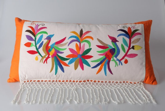 I want this in still a rebozo not turned into a pillow form!    Handcrafted pillow combines finely designed by BikasaDesigns, $70.00