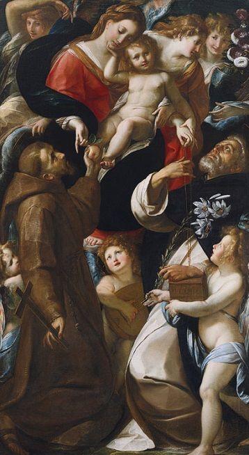 Giulio Cesare Procaccini: Virgen del Rosario con el niño, san Francisco y santo Domingo. Museo Metropolitano, New York.