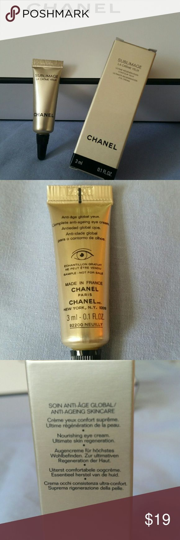 CHANEL Sublimage La Creme Yeux Eye Cream CHANEL Sublimage La Creme Yeux Eye Cream Complete anti-aging eye cream; nourishing eye cream. Ultimate skin regeneration. Brand new - never opened. 3ml - 0.1 FL.OZ ($45 value) Chanel Makeup Eye Primer