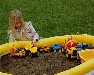 dirt pit for construction theme party