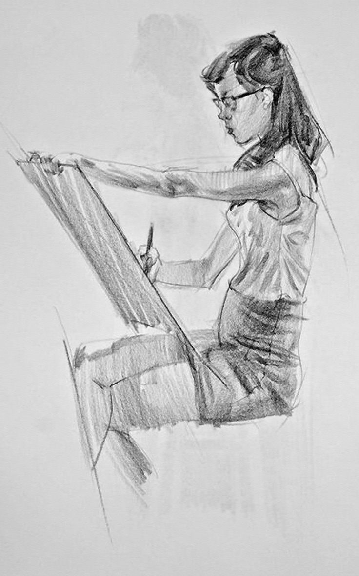 Sergio Lopez, drawing of seated female working on sketch pad.