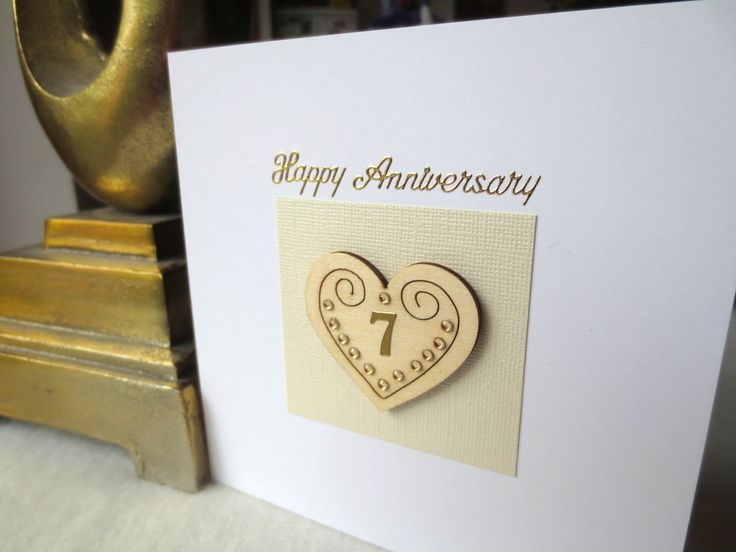 7 th wedding anniversary card, 1st,2nd,3rd,4th,5th,6th,7th,8th,9th,10th,15th,20th,25th wedding anniversary card for wife,husband,parents . by FyneHandmadeCards on Etsy