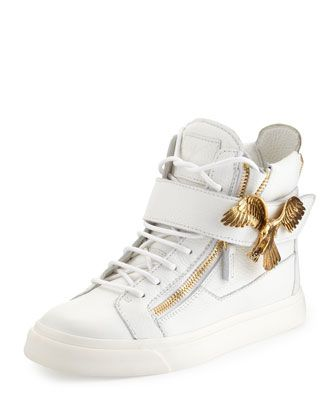Wednesday, February 26th: Giuseppe Zanotti Eagle Side Zip Hi-Top Sneaker,  White