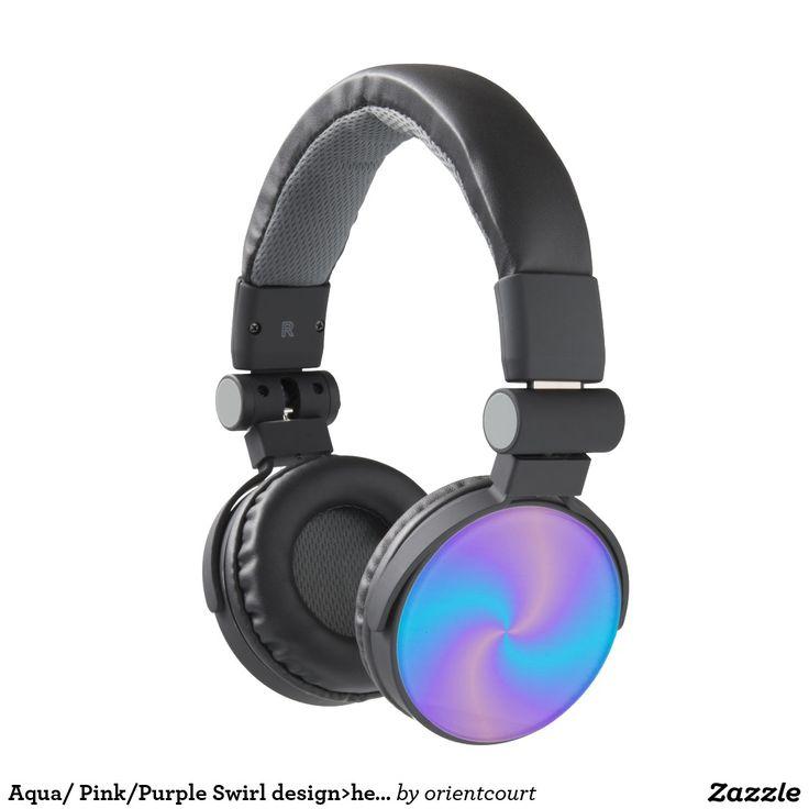 Aqua/ Pink/Purple Swirl design>headphones Headphones