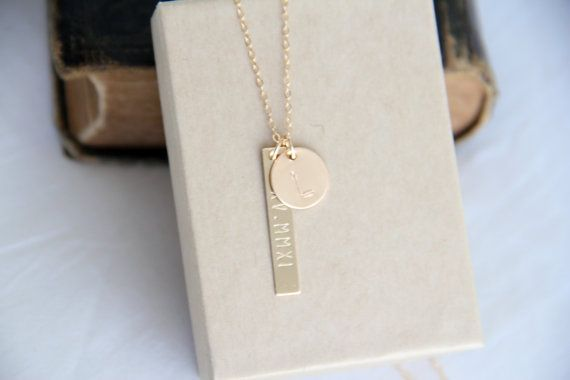 want the bar engraved with wedding date in roman numerals, and the circle with the letter K.