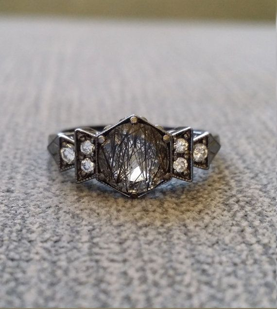 "Antique Diamond Black Rhodium Rutilated Quartz Engagement Ring White Gold 1920s Grey Gemstone Rustic Bohemian PenelliBelle ""The Florence"""