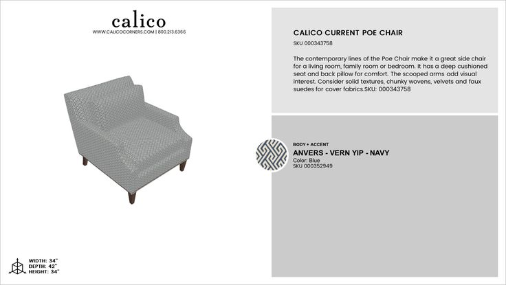 Calico Current Poe Chair in Anvers - Vern Yip - Navy