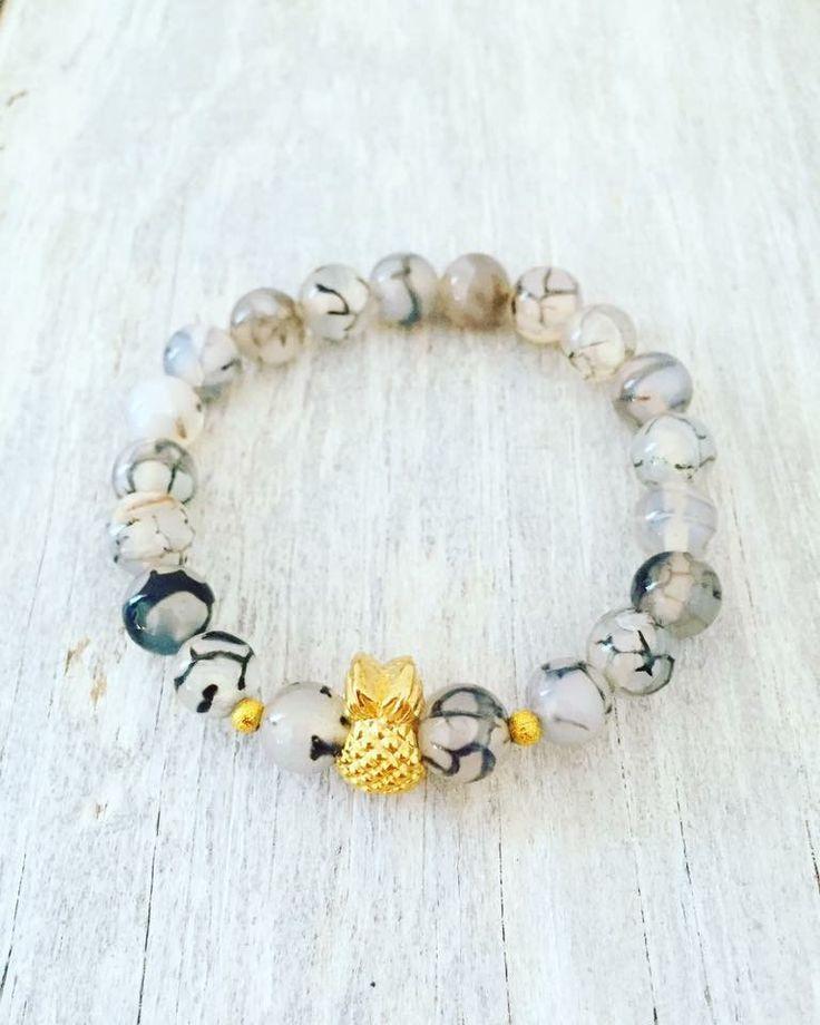 "Pineapple bracelet 8mm Dragon Veins Agate 6.5"""