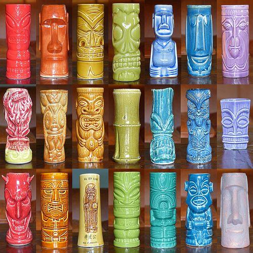 S. J. Marshall a spectrum of coloured tiki mugs a few vintage mugs plus modern-day mugs from the likes of K.C Hawaii, Cheeky Tiki, Accoutrements, FireWorks Studio, Tiki Farm, Munktiki and Shag....