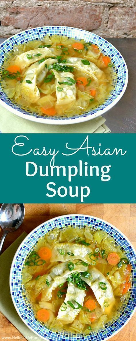 Easy Asian Dumpling Soup recipe! Learn how to make Asian Dumpling. This quick, delicious Chinese Dumpling Soup is ready in minutes. It's a healthy weeknight dinner and a great way to warm up on cold winter days. Your whole family will love this vegan / vegetarian Asian Soup recipe made with frozen dumplings, cabbage, soy sauce, sesame oil, and broth … make it spicy if you want. | Hello Little Home #chinese #chineserecipe #asiandumplingsoup #dumplingsoup #asiansoup #chinesesoup