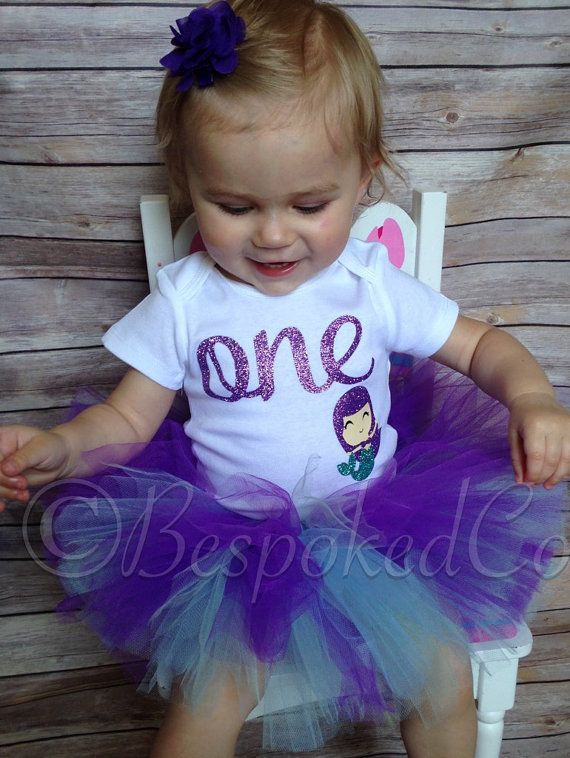 Under the Sea 1st Birthday Outfit/Under the Sea Tutu Birthday Outfit/Purple and Aqua Mermaid Birthday/Purple and Aqua First Birthday Outfit