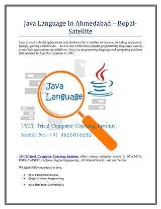 Java language in ahmedabad – bopal satellite