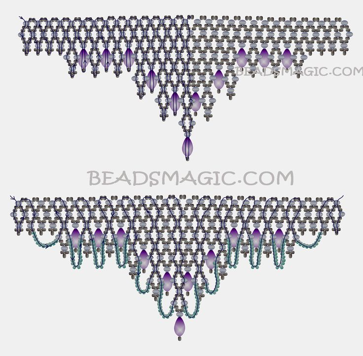 Free pattern for beaded necklace Vizantia | Beads Magic U need:  seed beads 11/0  rondelle beads 3 mm  drops beads