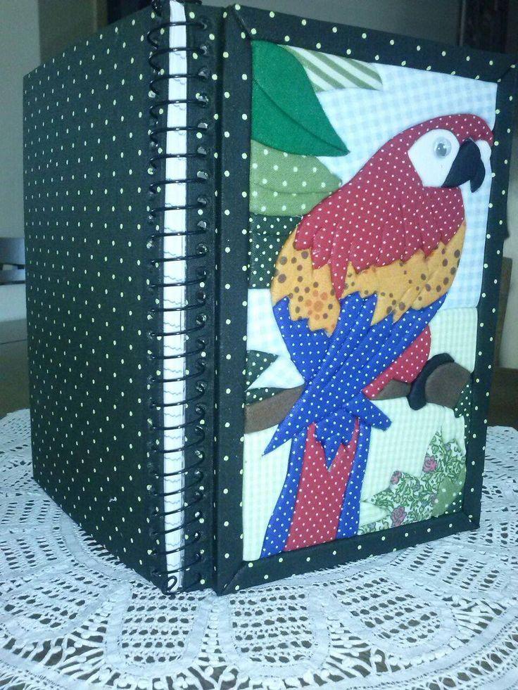 Patchwork embutido em caderno
