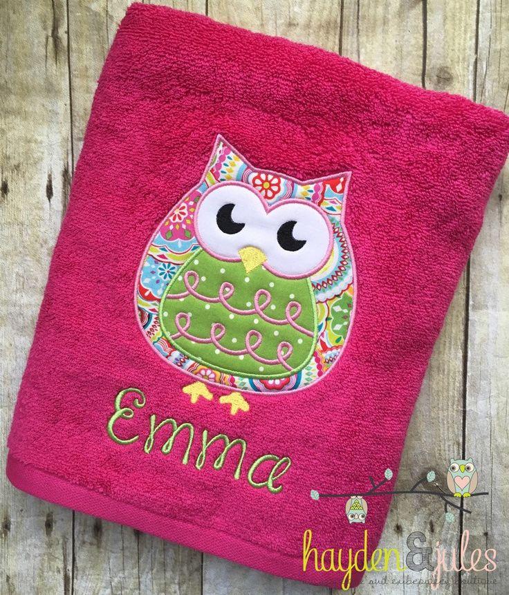 Owl Applique Beach Bath Towel - Personalized, Monogrammed by HaydenandJules on Etsy https://www.etsy.com/listing/267704690/owl-applique-beach-bath-towel