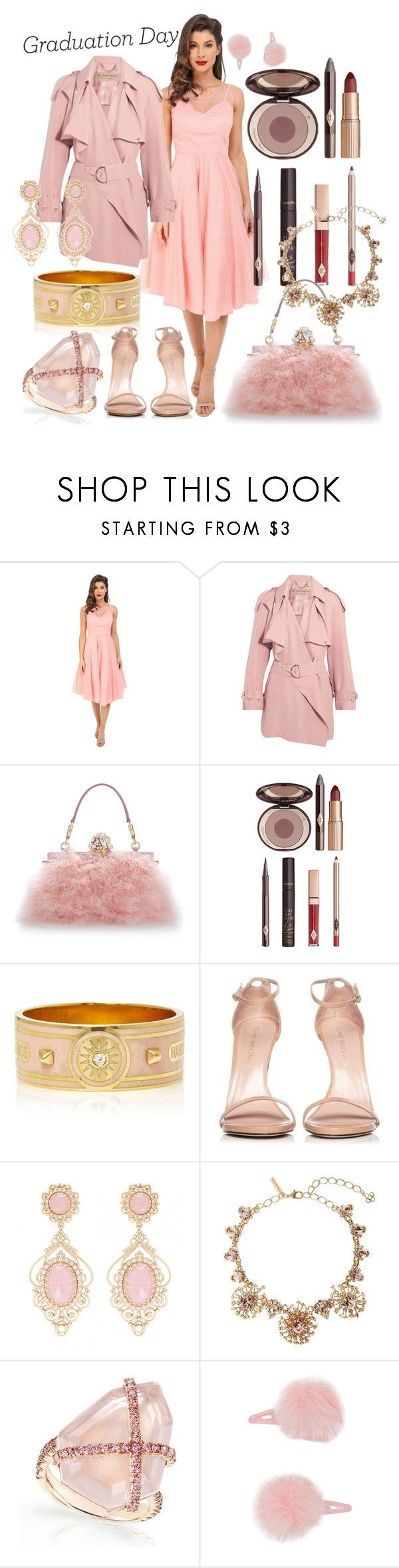 """""""pinky grad girl"""" by caroline-buster-brown ❤ liked on Polyvore featuring Unique Vintage, Burberry, Dolce&Gabbana, Charlotte Tilbury, Foundrae, Stuart Weitzman, Oscar de la Renta, Forever 21 and Graduation"""