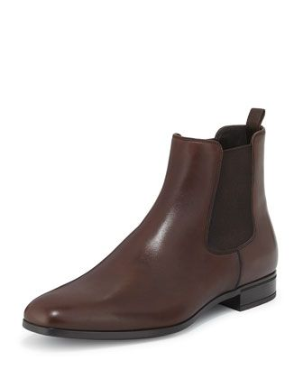 Leather Chelsea Rubber-Bottom Boot, Brown by Prada at Neiman Marcus.