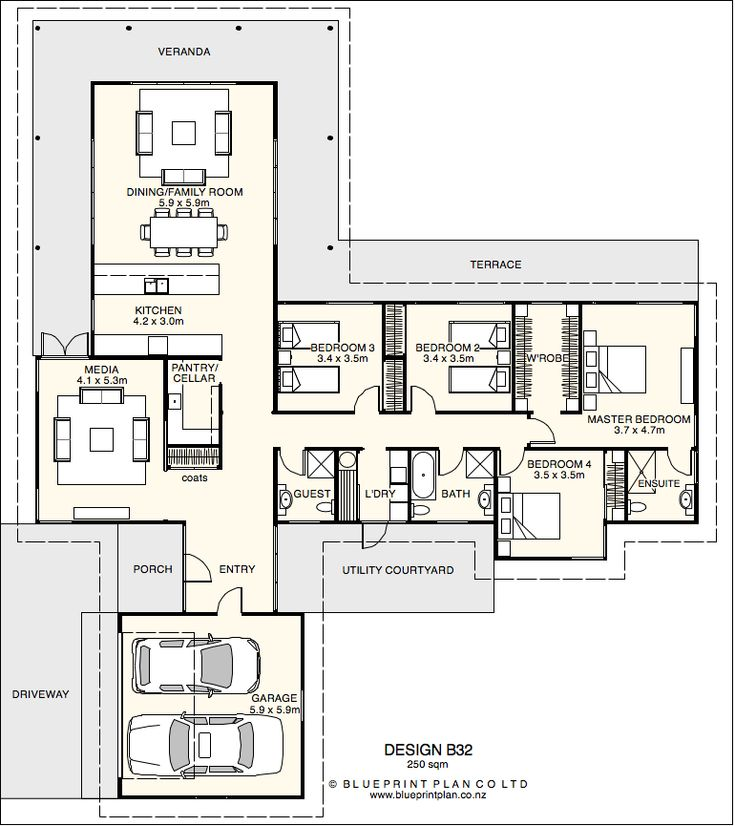 20 best my future home images on pinterest house design house t shaped plan with four bedrooms an actual front door would be nice but otherwise malvernweather Choice Image