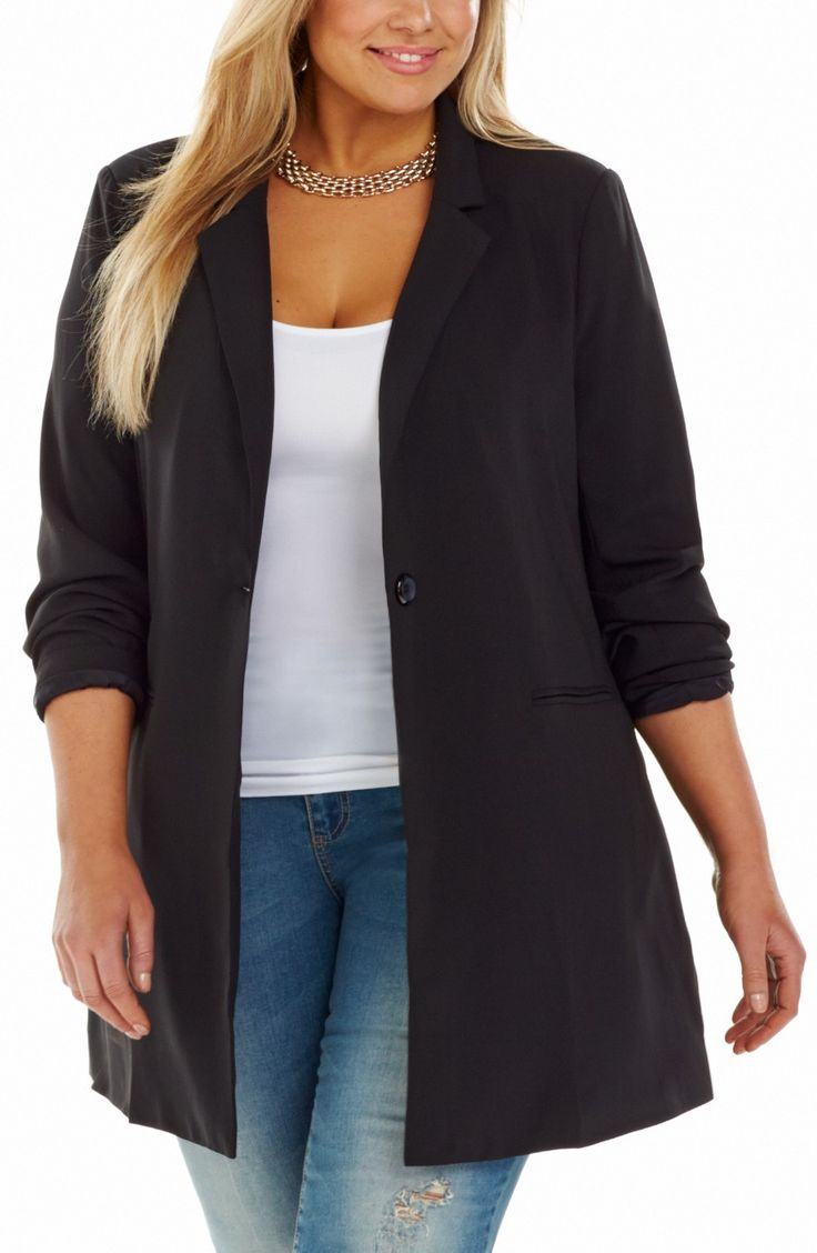 Longline Jacket/black Style No: JK11117 Summer Twill Fully Lined Jacket. This long Line Jacket has a single button front and lapels. It has long sleeves and mock welt pockets. The back has a centre split at the hemline.  #plussize #dreamdiva #dreamdivafiles