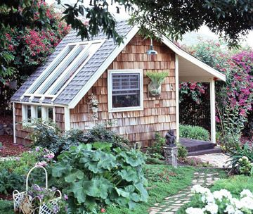 Potting Shed Greenhouse        A charming wood-shingled backyard structure is part greenhouse and part garden shed. South-facing windows bathe the interior of the structure in light for potting projects (and plant propagation). An open front porch makes the shed look like a tiny house. The doors and windows allow air to flow inside. Exterior landscaping helps the structure fit naturally into the garden.