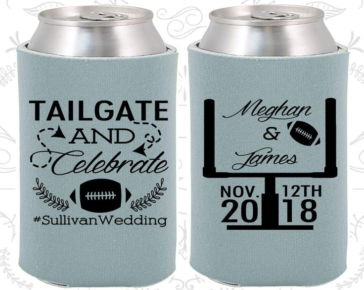Tailgate and Celebrate, Wedding Giveaways, Football Wedding, Football Favors, Tailgate Wedding,  Personalized Koozies  (394)